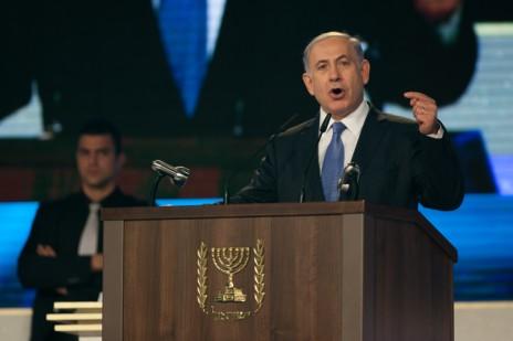 """ראש הממשלה בנימין נתניהו נואם במהלך חידון התנ""""ך למבוגרים, בנייני-האומה בירושלים, 23.12.14 (צילום: יונתן זינדל)"""