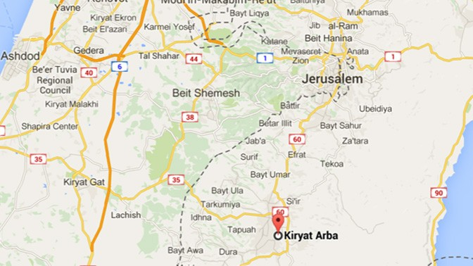 קריית-ארבע, דרומית לירושלים (ולקו הירוק), מתוך Google Maps