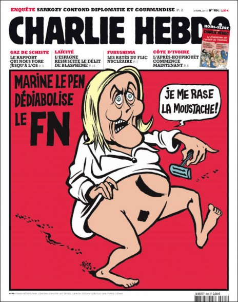 """מארין לה-פן מגישה חזית-לאומית נטולת שטניות ואומרת: """"אני מגלחת לעצמי את השפם"""". שער """"שרלי הבדו"""" מאפריל 2011"""