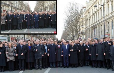 """התצלום של חיים צח מהעצרת בפריז כפי שפורסם על-ידי לשכת העיתונות הממשלתית (בגרסה הגדולה), וכפי שפורסם בשער הביטאון """"ישראל היום"""" (הקווים האדומים הנראים בהגדלת התמונה מסמנים את המרכז של כל אחת מהתמונות)"""