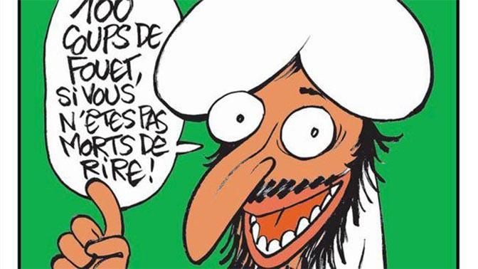"""פרט משער גיליון המגזין הסאטירי """"שרלי הבדו"""" שהוקדש לשריעה האיסלאמית: דמותו של הנביא מוחמד אומרת """"מאה מלקות אם לא תמות מצחוק!"""""""