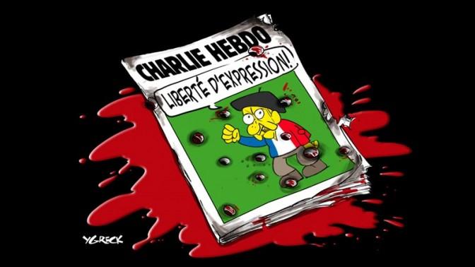 קריקטורה של המאייר הקנדי יניק למיי (YGreck) בתגובה לטבח הקריקטוריסטים בפריז, 7.1.14 (צילום מסך)