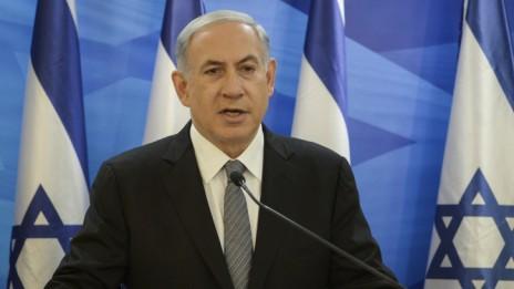 """בנימין נתניהו, ראש ממשלת ישראל, מגיב להחלטת בית-הדין הפלילי הבינלאומי בהאג לבדוק את מעשי ישראל בשטחים, 17.1.15 (צילום: עמוס בן-גרשום, לע""""מ)"""