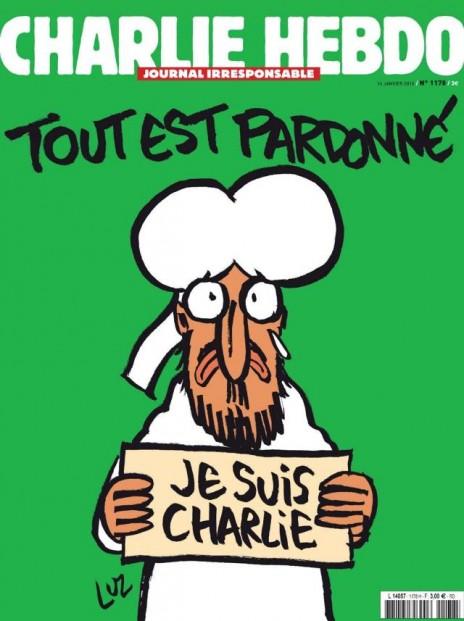 """שער הגיליון החדש של """"שרלי הבדו"""": נביא האסלאם מוחמד מחזיק שלט הקורא """"אני שרלי"""" ומזיל דמעה. הכותרת: """"הכל נסלח"""""""