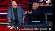"""שלמה שרף נגד אברם גרנט, השבוע ב""""יציע העיתונות"""" (משמאל: רון קופמן)"""