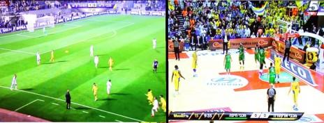 שני המשחקים ששודרו במקביל, בערוץ 1 ובערוץ הספורט (צילומי מסך)