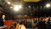 """ראש הממשלה בנימין נתניהו נואם בפני הקונגרס האמריקאי, מאי 2011 (צילום: אבי אוחיון, לע""""מ)"""