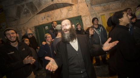 ברוך מרזל חוגג במזרח ירושלים, 18.2.15 (צילום: יונתן זינדל)