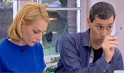 יואב לימור נוזף באמיר חצרוני. גלית גוטמן מרכינה את ראשה. תוכנית הבוקר של קשת (צילום מסך)