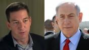 מימין: ראש הממשלה בנימין נתניהו והעיתונאי האמריקאי גלן גרינוולד (צילומים: לשכת העיתונות הממשלתית וצילום מסך)