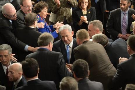 """ראש הממשלה נתניהו אחרי נאומו בקונגרס בוושינגטון, 3.3.2015 (צילום: עמוס בן-גרשום, לע""""מ)"""