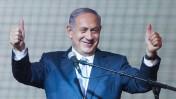 ראש הממשלה, בנימין נתניהו, בנאום הניצחון שלו בגני-התערוכה בתל-אביב, 17.3.15 (צילום: מרים אלסטר)