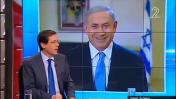 """בנימין נתניהו ויצחק הרצוג ב""""פגוש את העיתונות"""". ערוץ 2, 14.3.15 (צילום מסך)"""