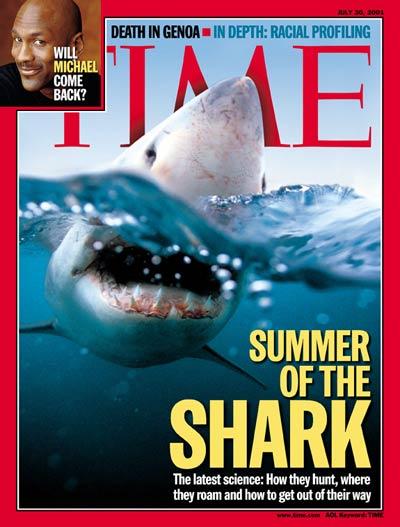 """שער המגזין """"טיים"""" על """"הקיץ של הכרישים"""" ביולי-אוגוסט 2001"""