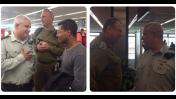"""דובר צה""""ל תא""""ל מוטי אלמוז (מימין ומשמאל) בתמונה שהעלה לדף הפייסבוק הרשמי שלו, עם המשלחת הצה""""לית לנפאל בשדה התעופה בישראל, 27.4.15"""
