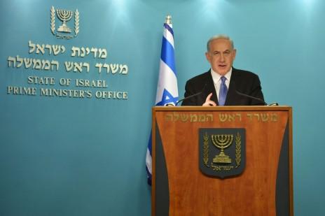 """ראש הממשלה בנימין נתניהו מוסר הצהרה בדבר הסכם הביניים בין איראן לשש המעצמות. ירושלים, 3.4.15 (צילום: קובי גדעון, לע""""מ)"""