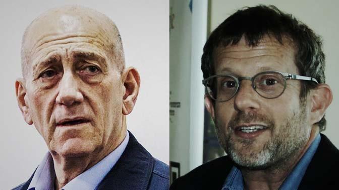 """משמאל: ראש הממשלה לשעבר אהוד אולמרט ועורך ynet ערן טיפנברון (צילום: פלאש 90 ו""""העין השביעית"""")"""