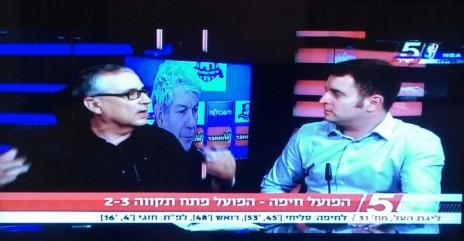 """אבי ברזילי (משמאל) ויונתן כהן במוצ""""ש בערוץ הספורט (צילום מסך)"""