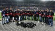 מחאת צלמי ספורט נגד אלימות המופנית כלפי על ידי מאבטחים במגרשים, אצטדיון חיפה, 2.5.15 (צילום: ערן לוף)