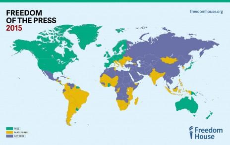 מפת חופש העיתונות של הארגון Freedom House לשנת 2015 (לחצו להגדלה)