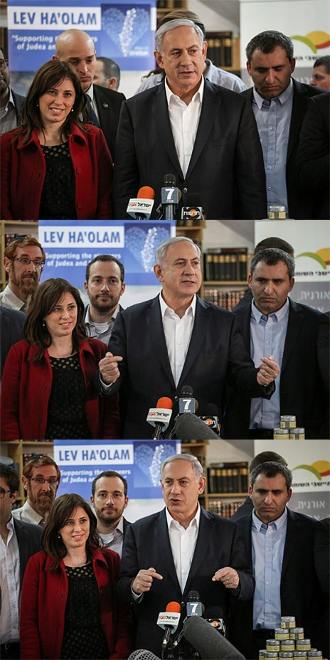 ראש הממשלה בנימין נתניהו מבקר בארגון הנלחם בחרם על מוצרי התנחלויות, 3.2.15 (צילום: הדס פרוש)