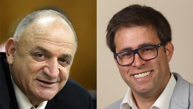 חבר הכנסת אורן חזן (מימין) וטייקון הגז יצחק תשובה (צילומים: פלאש 90)