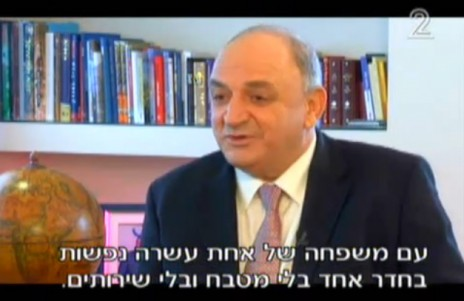 יצחק תשובה מתראיין אצל יאיר לפיד נגד המלצות ועדת ששינסקי להעלות את תמלוגי הגז, 2010 (צילום מסך)