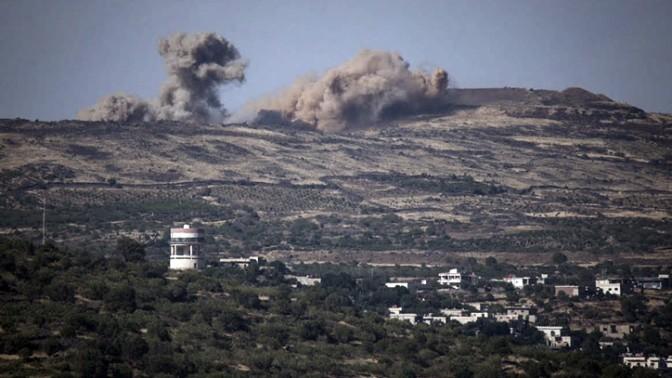 הפצצות מעבר לגבול עם סוריה, רמת הגולן, 16.6.15 (צילום: באסל עווידאת)