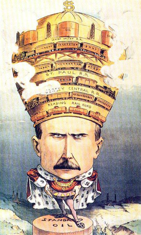 """קריקטורה של ג'ון ד' רוקפלר, שהופיעה בשנת 1901 במגזין """"Puck"""" (נחלת הכלל)"""