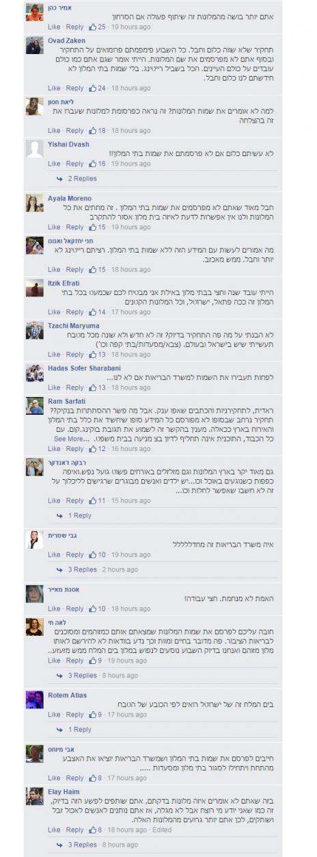 """תגובות לכתבה בפייסבוק """"הכל כלול"""" (צילום מסך)"""