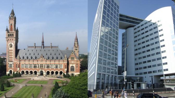 מימין: בית-הדין הפלילי הבינלאומי בהאג (צילום: Hanhil, רישיון CC BY-SA 3.0). משמאל: בית-הדין הבינלאומי לצדק בהאג (צילום: נחלת הכלל)