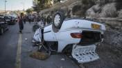 מכוניתו של הערבי שדרס חיילים בשומרון, 6.8.15 (צילום: פלאש 90)