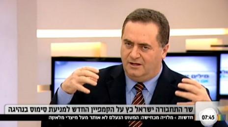 """השר ישראל כץ בראיון ממומן ששודר בתוכנית """"הבוקר של קשת"""", 2014 (צילום מסך)"""