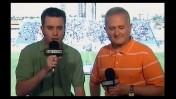 השדר יונתן כהן (משמאל) והפרשן מומי זפרן משדרים משחק מהליגה הלאומית בימים ששודר בערוץ 5 (צילום מסך)