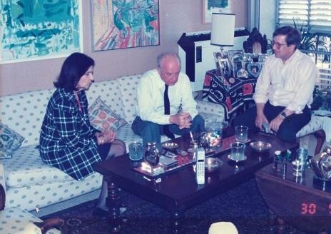 שרל אנדרלין בראיון עם יצחק ולאה רבין לפני בחירות 1992 (צילום: פרטי)