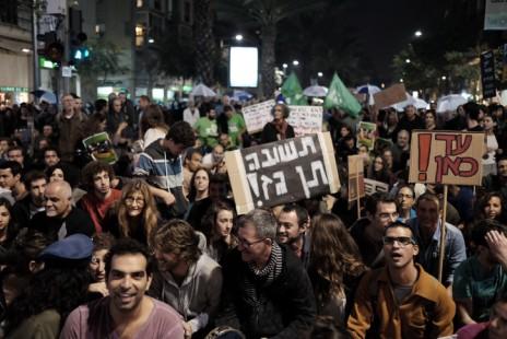 הפגנה נגד מתווה הגז, תל-אביב, 28.11.15 (צילום: תומר נויברג)