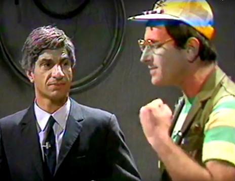 """דבל'ה גליקמן וששון גבאי ב""""זהו זה"""", 1986 (צילום מסך)"""