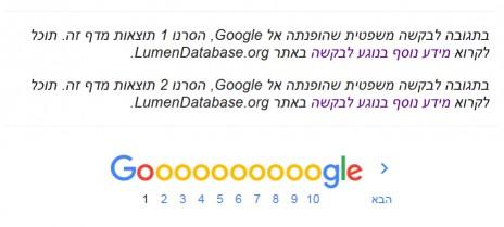 הודעה בתחתית עמוד תוצאות חיפוש, google.co.il (צילום מסך)
