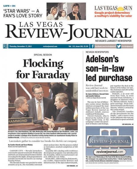 """""""חתנו של אדלסון הוביל את הרכישה"""", שער גיליון """"לאס וגאס ריביו ג'ורנל"""" מה-17 לדצמבר"""