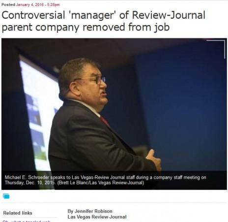 """הידיעה ב""""לאס וגאס ריביו ג'ורנל"""" על פיטוריו של שרודר (צילום מסך)"""