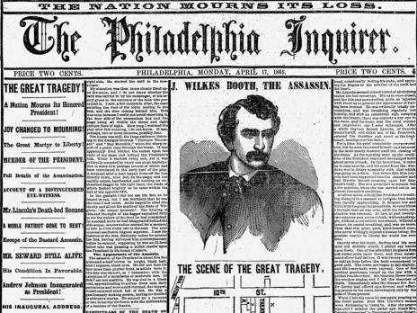 """ה""""פילדפיה אינקוויירר"""" מדווח על ההתנקשות בלינקולן, 1865"""
