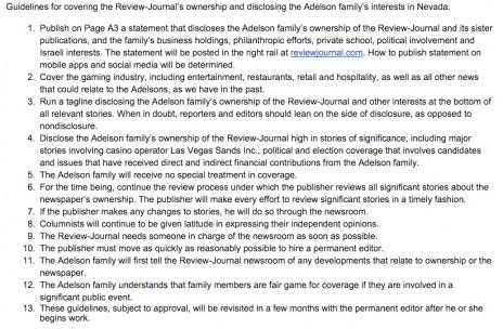 """ההנחיות של גלן קוק, העורך הראשי הזמני של ה""""לאס וגאס ריביו ג'ורנל"""", לעובדי העיתון, בכל הנוגע לבעלים החדשים - משפחת אדלסון"""