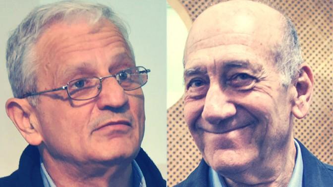 אהוד אולמרט ונחום ברנע (צילומים: אמיל סלמן ויהודה שגב)