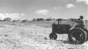"""חלוץ נוהג על טרקטור בשדות קיבוץ מעיין ברוך בגליל העליון (צילום: זולטן קלוגר, לע""""מ)"""