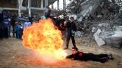 פלסטינים מתרגלים פעלולי אש בצפון רצועת עזה, 1.2.16 (צילום: אעד טאיה)