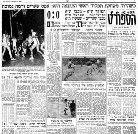 """ספורט """"דבר"""", ינואר 1968"""