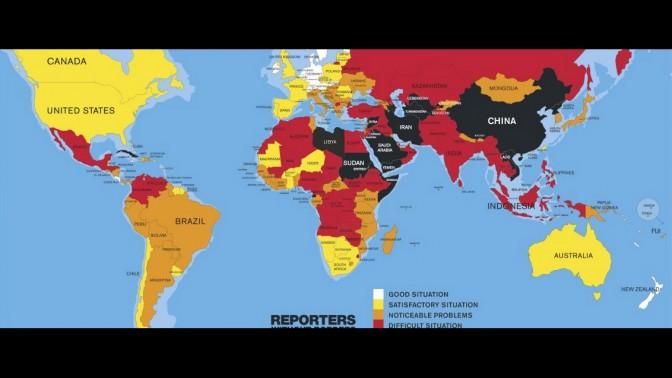 מפת מדד חופש העיתונות 2016, מתוך אתר RSF