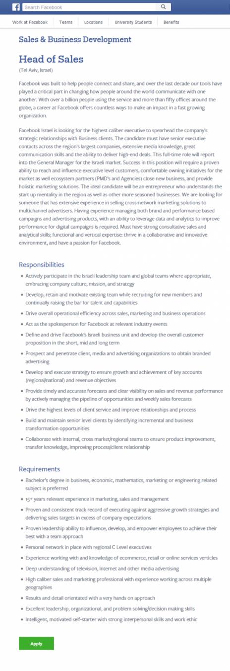 """רשימת הדרישות באתר """"פייסבוק"""" למשרת מנהל מכירות (צילום מסך)"""