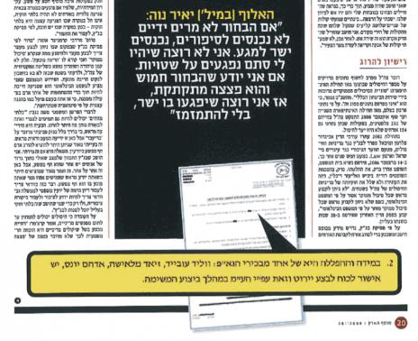 """קטע מהכתבה """"מכירת חיסול"""", כפי שפורסמה במוסף """"הארץ"""", 28.11.2008"""
