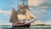 """האונייה """"סורן לארסן"""", אחת מכמה שצולמו לסדרה """"קו אונידין"""", כפי שצוירה בידי הצייר הבלגי יסמינה, (צילום: Georges Jansoone, רשיון: CC BY 3.0)"""